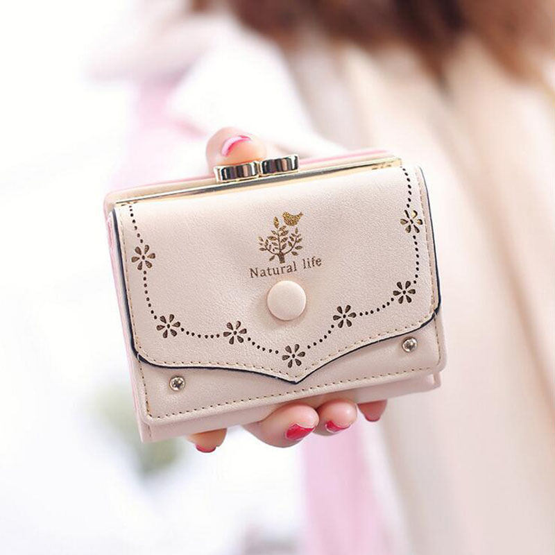 Lovely Hollow Out Flower Wallet Women Short Leather Hasp Wallets With Photo Holder Fashion 2017 Ladies Mini Coin Purse For Girls<br><br>Aliexpress