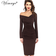 Vfemage Women Autumn Winter Elegant Vintage Sexy Off Shoulder V-neck Ruched Draped Work Party Cocktail Bodycon Sheath Dress 4390(China)