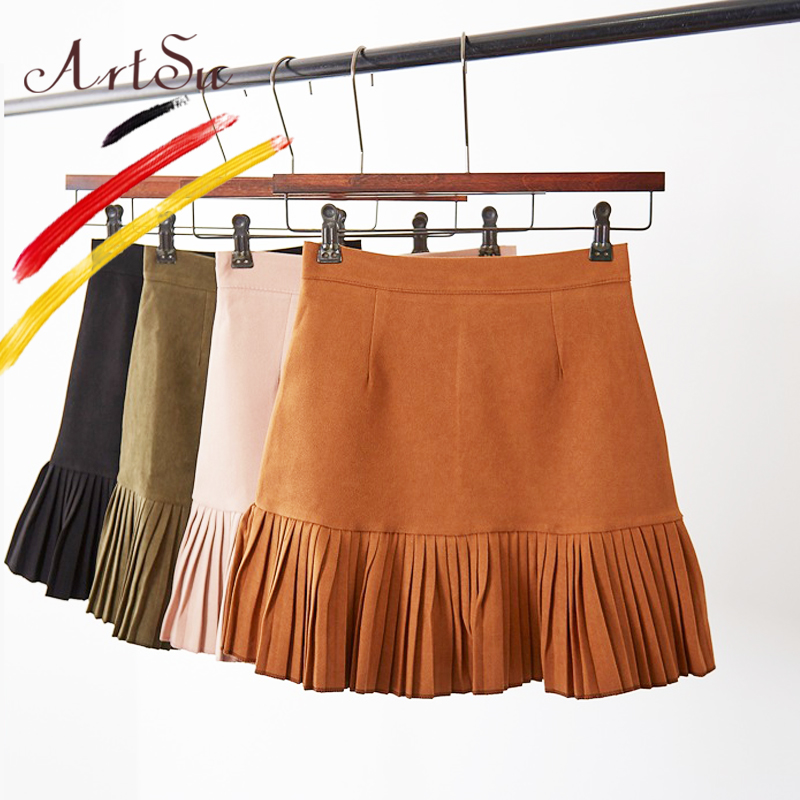 ArtSu Faux Leather Skirts Women Suede Skirt 2017 Autumn High Waist A-Line Skirt Faldas Casual Solid Pleated Mini Skirt ASSK20036