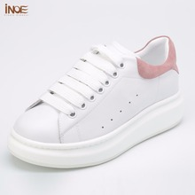 INOE 패션 츠 정품 소 leather 캐주얼 봄 가 sneakers 화 대 한 women lace up 레저 shoes black white red 35-44(China)