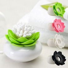 Cute Lotus Flower Shape Vase Cotton Bud Holder Toothpick Case Cotton Swab Box