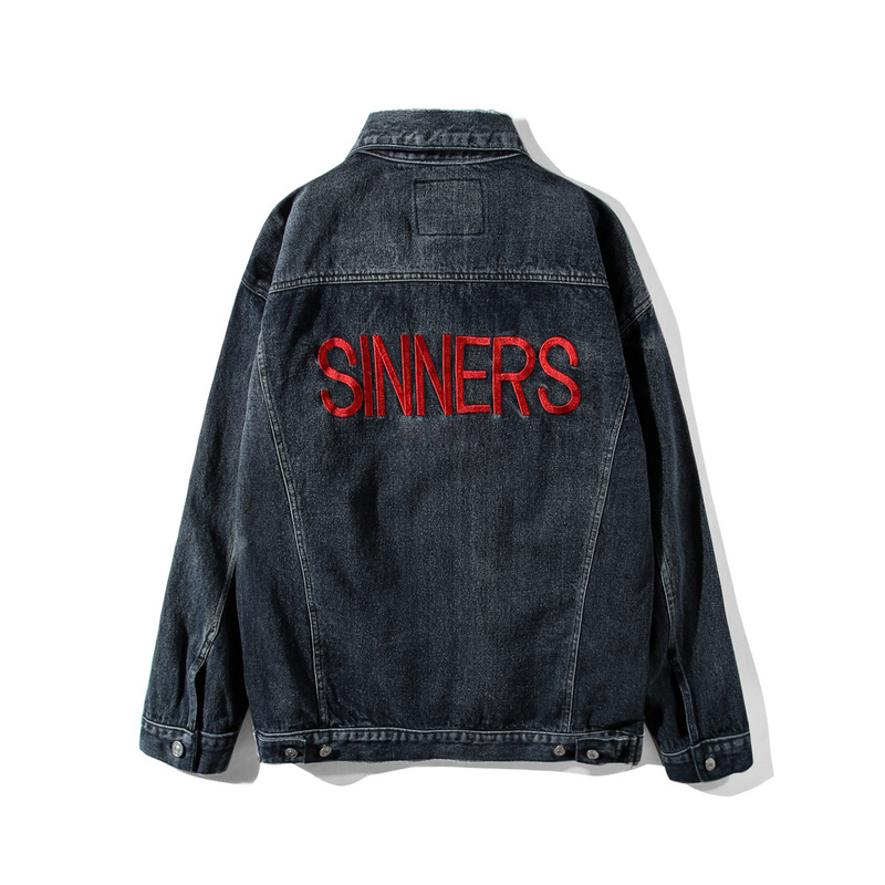2018SS Xieruis SINNERS Logo Embroidery Women Men Denim Jacket Hiphop Streetwear Men Jeans Jackets Coats