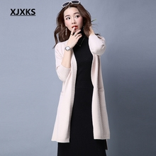 XJXKS 2017 new autumn and winter solid color cashmere sweater women outside the ride long sweater coat Knitwear wild cardigan