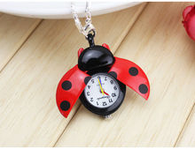 100pcs/lot DHL shipping 10 Color fashion Cute Ladybug Quartz Pocket watch Necklace Brand New reloj de bolsillo(China)