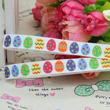 "Free shipping 3/8"" 9mm SO Cute Colorful Easter eggs Printed grosgrain ribbon hai rbow DIY handmade wholesale OEM 50YD Y0274"