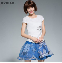 KYQIAO m l xl 2xl ethnic t shirt 2017 women summer brief o neck short sleeve lotus pattern t shirt  traditional Chinese clothing