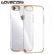 Luxury Ultra Thin Clear Crystal Rubber Electroplating TPU Soft Mobile Phone Case For iPhone 5 S SE 6 6S 7 Plus Back Cover Coque