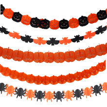 1pack Newest Creative Halloween Pumpkin Paper Garland Decoration for Hallowmas Props Gags Practical Jokes Novelty Toys for Kids(China)