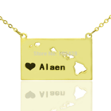 Custom Gold Color Hawaii State Necklaces  Personalized  USA State Shaped  Map Necklaces DIY Charm State Of Pendent Necklaces