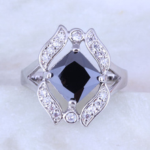 Love Monologue Stylish Geometry Black imitation Onyx & Cubic Zirconia Silver Color Ring Size 6 / 7 / 8 / 9 Free Gift Bag H0233