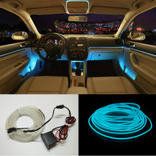 Universal 2.3 mm 1/2/3/5M 10 Colors Car Styling Flexible Neon Light EL Wire Rope Car Decoration Strip with 12V Controller