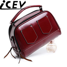 2017 New Vintage Oil Wax PU Leather Pillow Motorcycle Bags Handbags Women Famous Brands Women Leather Handbags Wholesale Sac