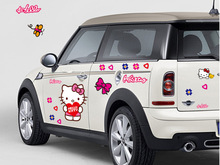 Promotion!!!Free shipping Hello Kitty Car Stickers Lovely Cat Decal for Toyota Ford Chevrolet Volkswagen Honda Hyundai Kia Lada