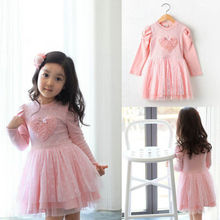 Pinks Kid Baby Girls Party Dresses Long Sleeve 3D Heart Tulle Tutu Dress 2-7Y UK(China)