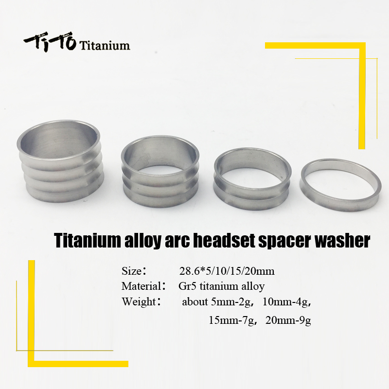 """Free shipping Titanium Spacers for Headset stem 1-1//8/"""" 4pcs 20-10-5-5mm"""
