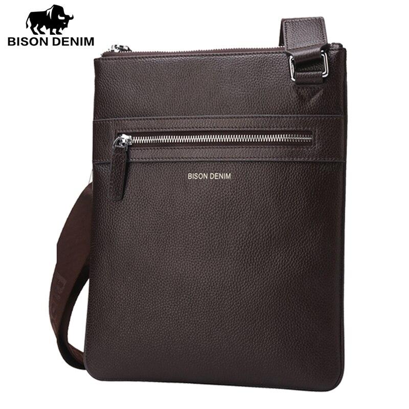 BISON DENIM Mens Shoulder Bag Genuine Leather Satchel iPad Tablet Messenger Bag black thin soft casual male bag N2424-1B<br>