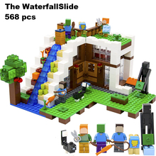 Model building blocks kits compatible with lego 21134 lepin 18028 my worlds Minecraft Waterfall House Building Blocks(China)
