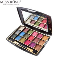 Miss Rose 1PC 3D Shinning Makeup Shimmer Wet Eye Shadow Cosmetic 18 Color Metallic Glitter Eyeshadow Palette With Brush A203