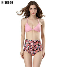 Riseado 2017 Sexy Bikini High-waisted Brand Swimwear Women Floral Printed Swimsuit Halter Summer Beach Bathing Suits(China)