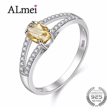 Almei 7mm Natural Oval Citrine 925 Sterling Silver Jewelry Yellow Rhinestone Wedding Ring with CZ Stone for Women with Box CJ035