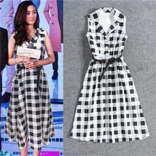 Classic Women Dresses 2017 Summer Fashion Sleeveless Black White Plaid Elegant Notched Collar High End Hot Sale Dress With Belt