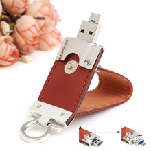 2 in 1 Leather USB OTG Flash Drive 64GB 32GB 16GB 8GB 4GB Dual Micro-USB Memory Stick for Android Smartphones Computers Laptops
