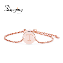 DUOYING Handmade Coin Bracelet Personalized Custom Name Bracelet Engraved Name Metal Letter Bracelet Christmas Supply for Amazon