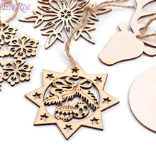 FENGRISE Wooden Snowflakes Christmas Tree Garland Wood Christmas Ornament Christmas Decorations For Home Xmas Noel Party Favors