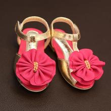 Summer Sandals Kids Shoes For Girl Flowers Sandal Leather Casual Flat Party Dance Shoe New Beach Children Footwear Cute Princess