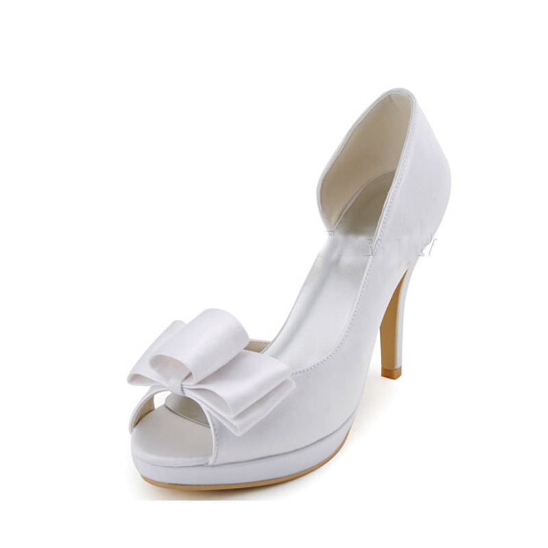 Fashion Solid Open Toed Low Cut Bowknot Satin Heels Wedding Shoes Women Shoes Pumps<br><br>Aliexpress