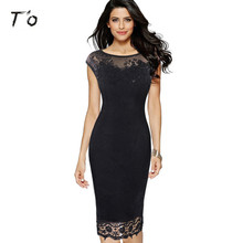 T'O 2017 New Lady Skin Care Crochet Butterfly Sexy Lace Cap Sleeve Party Club Evening Mother of Bride Bodycon Sheath Dress 453(China)