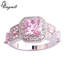 lingmei Fascinating Pink & White CZ Silver Ring Size 6 7 8 9 10 11 Shinning Fashion Jewelry Women Engagement Wholesale 1018R8