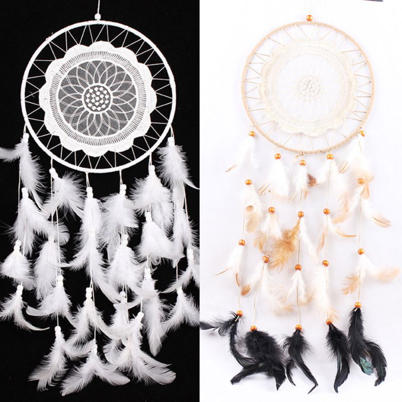 2017 New Beautiful DreamCatcher Hand-woven With White Feathers Lace Feather Pendant for Home Wall Decorations Car Hanged Adorn(China (Mainland))