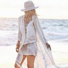 2017 Women Summer Maxi Lace Long Holiday Tassel Beach Dresses Sunscreen Tassel Cardigan Smock Dress