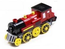Magnetic electric train locomotive sound emitting battery operated fit for all wooden train track set toys for children