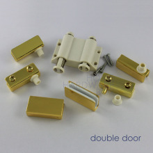 "double glass door pivot hinges clamps with strike plate golden chrome 1/4"" thickness 8mm"