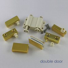 "double glass door pivot hinges clamps with strike plate golden chrome 1/4"" thickness 8mm(China)"