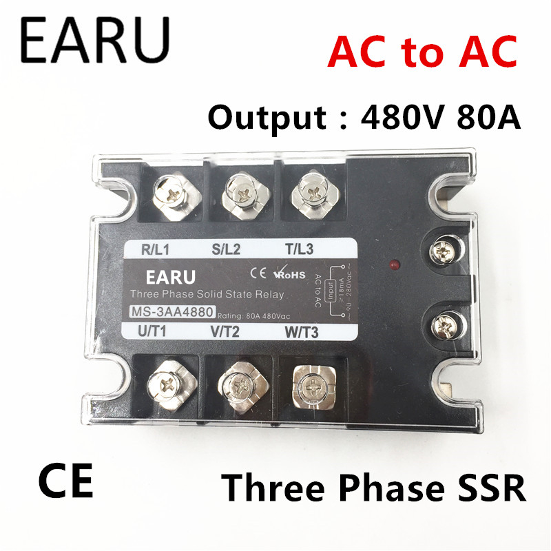 TSR-80AA SSR-80AA Three Phase Solid State Relay AC90-280V Input Control AC 30~480V Output Load 80A 3 Phase SSR High Power AA4880<br>
