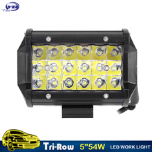 YB Yiba 5inch 54W 3-Row LED Work Light Bar Offroad spot beam Led Work Lights for Truck SUV ATV 4x4 4WD 12v 24v Led Driving Lamp(China)