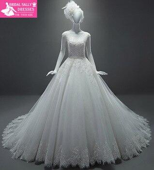 Amazing A-Line Wedding Dresses See Through Cap Sleeves Sash Chapel Train Bride Dresses Vestido De Casamento MTOB1707