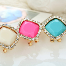 Fashion Korean Set Rhinestone Defence Allergy Crystal earring  Multicolor Imitate Jewel Ornamentsstud women female e137