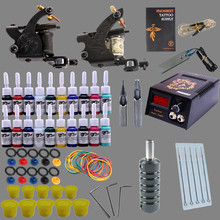 Complete Tattoo Kit Professional Tattoo Kit 2 Guns Machine Set 20 Color Ink Sets Power Supply