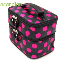 Ocardian ocardian organizer Makeup storage bag Lady's Wave Dot Case Double Cosmetic Hand Bag Tool u70217(China)