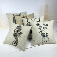2016 Mediterranean Style Pillowcase Linen Cushion Cover Shedd Aquarium Marine Biology Octopus Pillow Covers Conch hippocampus