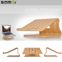 SAMDI Protable Wooden Laptop Holder Wood Radiator Stand Support Desk for MacBook iPad Notebook Computer(China)