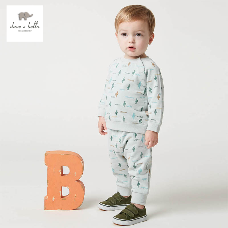 DB5116 dave bella spring baby boys and girls sports clothing sets kids homewear sets clothes 1set children sets<br>