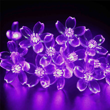 20Ft 6M 60 LED Peach Floral String Lights Battery Powered Outdoor Christmas Party New year Decoration Farry Lights