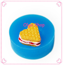 GYL213 Heart Waffle Mold Waffle with Cream Silicone Flexible Mold - Polymer Clay Sugarcraft Fake Food Molds, Fimo Mould