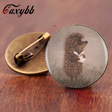 Gaxybb Vintage style Hedgehog brooch pins jewelry  High quality Glass Animal brooches for women gift free shipping