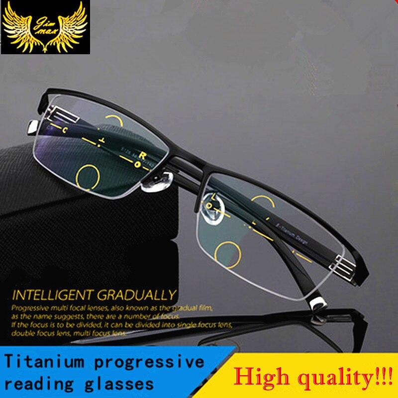 Men Style Titanium Alloy Quality Progressive lenses Reading Glasses Fashion Square Half Rim Classic Multifocal Glasses for Men<br><br>Aliexpress